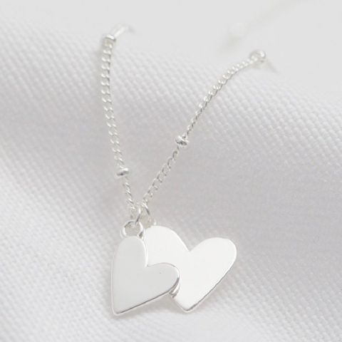 FALLING HEARTS SATELLITE CHAIN NECKLACE SILVER